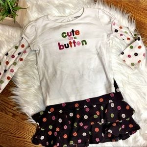 Gymboree Outfit Cute As A Button Top /Skirt 4/5